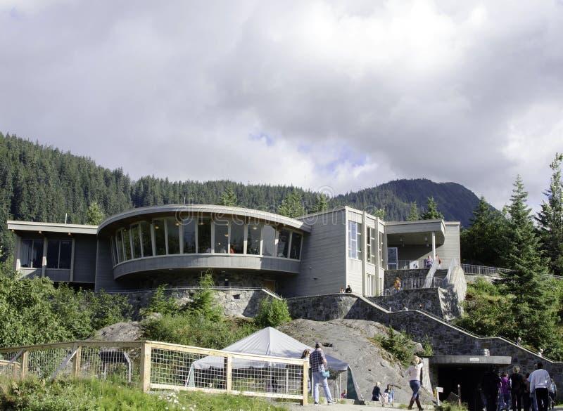 Besucher-Mitte an Mendenhall-Gletscher lizenzfreie stockfotos