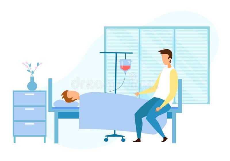 Besucher nahe ernsthaft krankem unbewusstem Patienten lizenzfreie abbildung