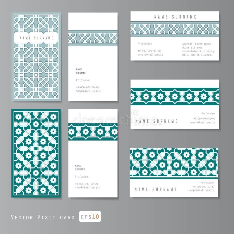 Besuchskartensatz islamisch lizenzfreie stockbilder