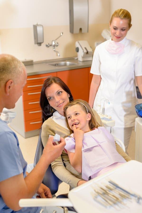Besuchszahnarztchirurgie des kleinen Mädchens mit Mutter lizenzfreies stockbild