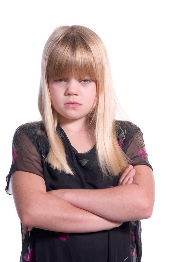 besviket flickabarn arkivbilder