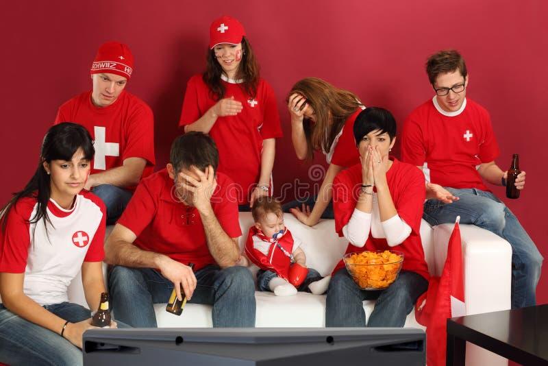 besvikna schweiziska ventilatorsportar arkivfoto