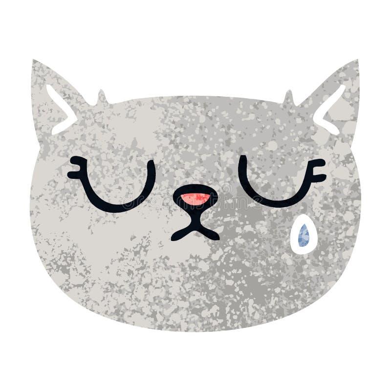 Besynnerlig retro katt för gråt för illustrationstiltecknad film royaltyfri illustrationer