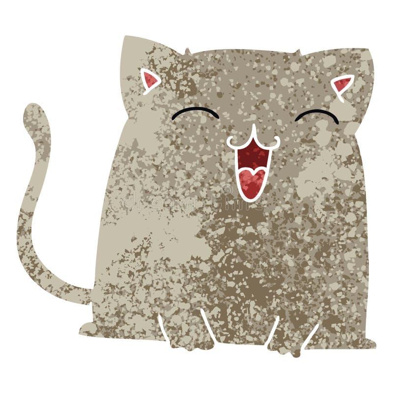 besynnerlig retro katt f?r illustrationstiltecknad film stock illustrationer