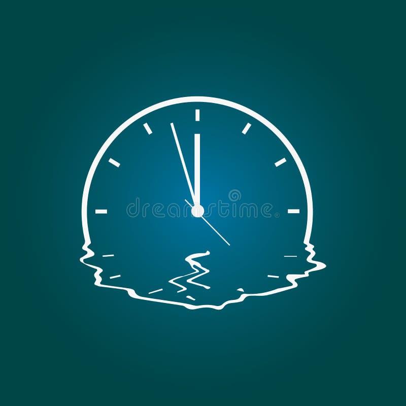 Besynnerlig teckning av en smältande klocka ocks? vektor f?r coreldrawillustration royaltyfri illustrationer