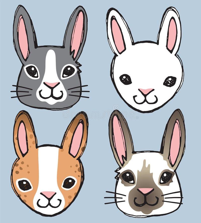 Besynnerliga Bunny Faces stock illustrationer