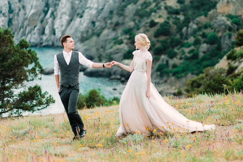 Betäubungsbraut und Bräutigam umarmen sich zarte Stellung auf dem goldenen Hügel stockfoto
