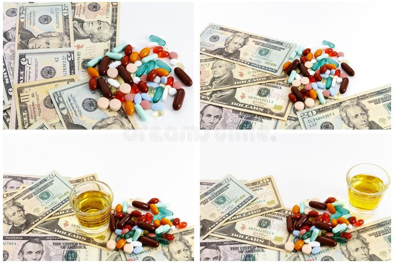 Betäubungsmittelpillendrogenmedizin-Bargeldcollage lizenzfreies stockbild