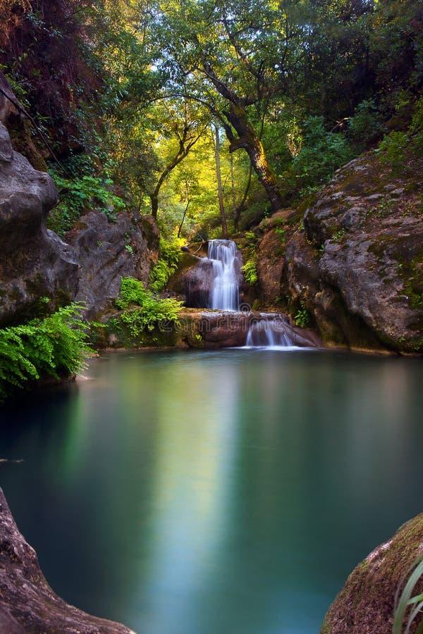 Betäubungswasserfall mit einem Smaragdteich im tiefgrünen Wald in Manavgat, Antalya, die Türkei stockbilder