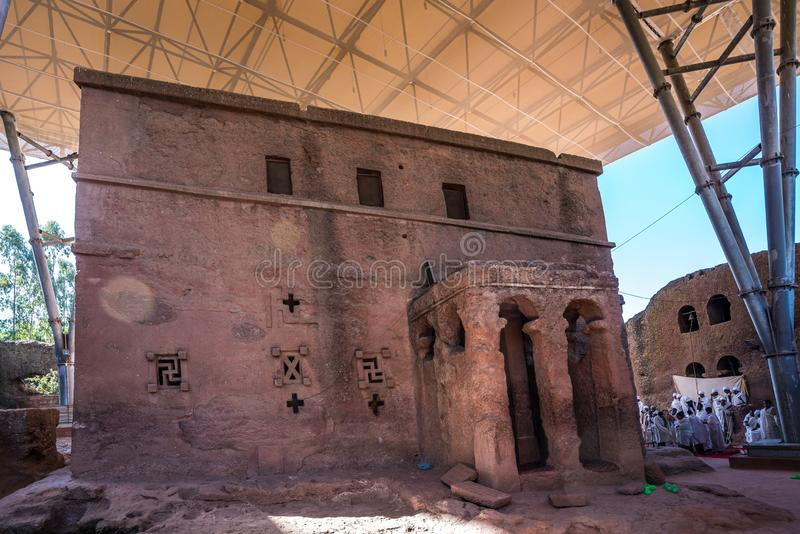 Bet Maryam Church, St. Mary Church in Lalibela, Ethiopia. Africa stock photo