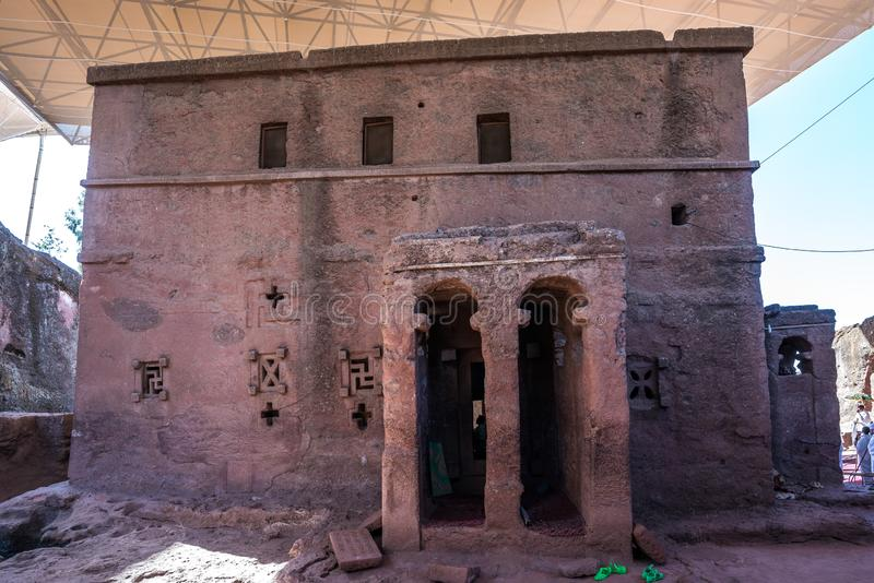 Bet Maryam Church, St. Mary Church in Lalibela, Ethiopia. Africa royalty free stock photos