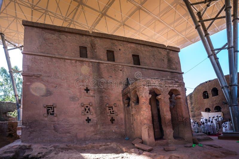Bet Maryam Church St Mary Church i Lalibela, Etiopien arkivfoto