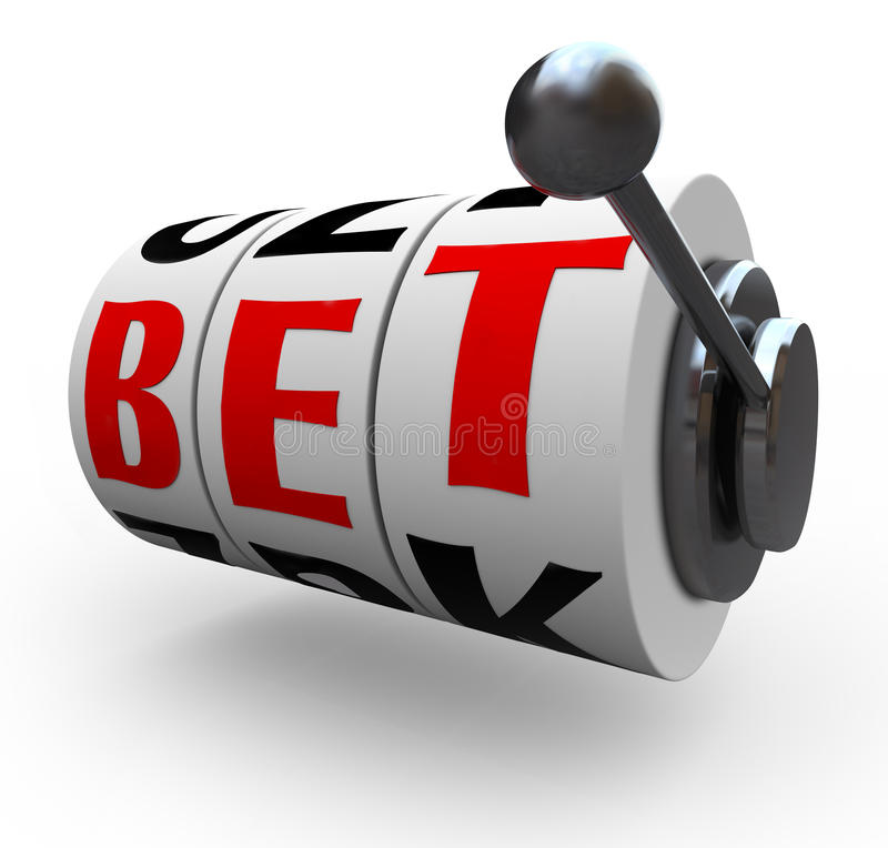 Bet Words on Slot Machine Wheels - Gambling. The letters in the word Bet line up for a jackpot on 3 slot machine wheels, symbolizing a jackpot of wealth, money stock illustration