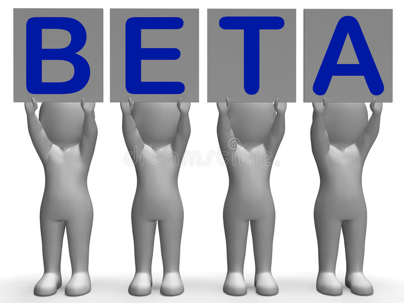Beta Banners Means Software Testing en stock illustratie