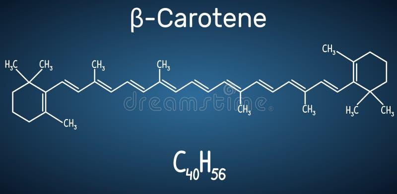 Beta Carotene, provitamina A, è un pigmento rosso-arancio organico in piante ed in frutti Modello strutturale della molecola e di illustrazione di stock