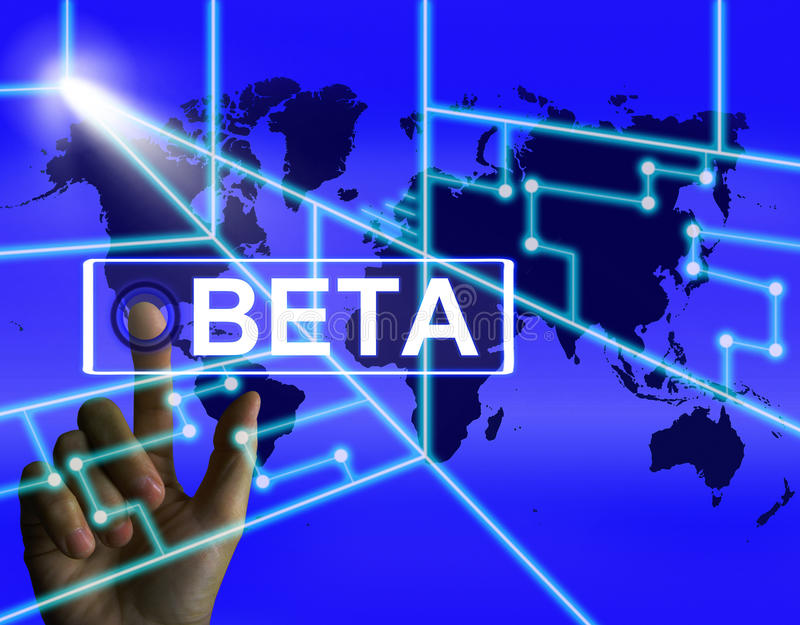 Beta Screen Refers till ett internationellt försök eller Demo Version royaltyfri illustrationer