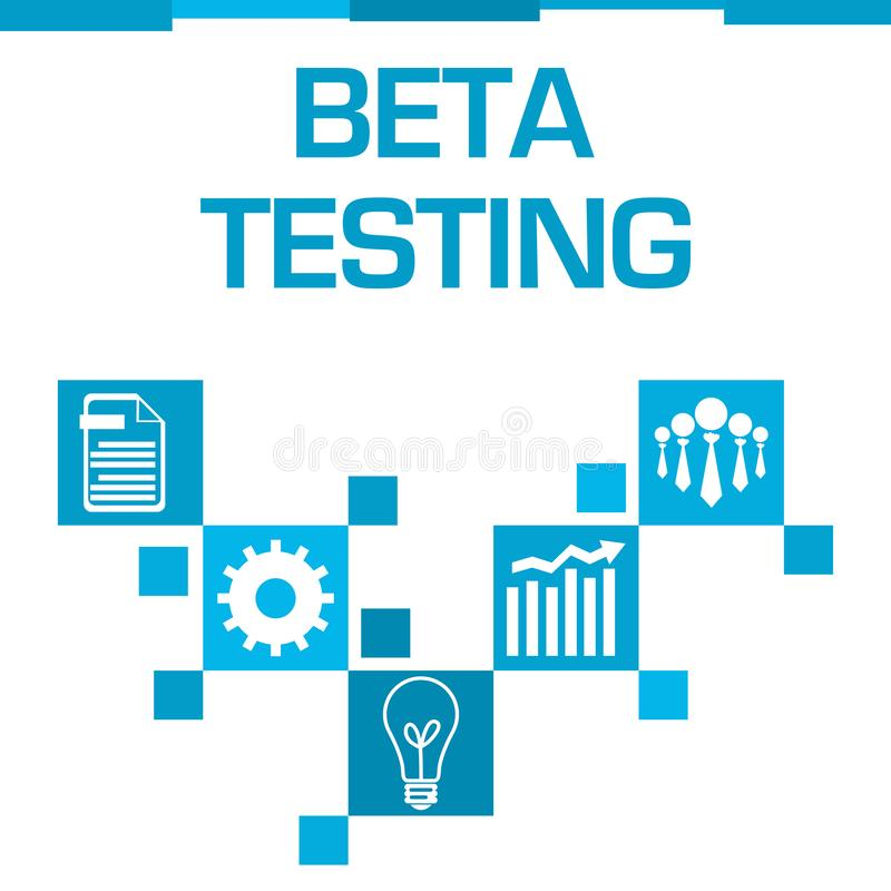 Beta Testing Blue Squares Symbols vector illustration
