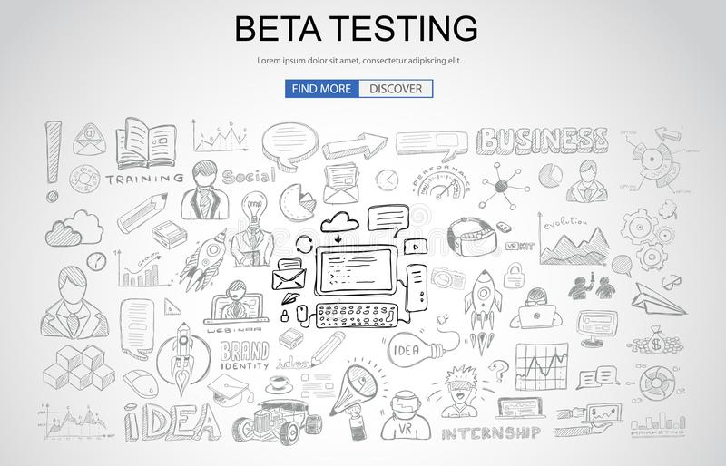 Beta Testing concept with Business Doodle design style: online a. Udience, tester groups,test phases. Modern style illustration for web banners, brochure and vector illustration