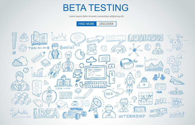 Beta Testing concept with Business Doodle design style: online a. Udience, tester groups,test phases. Modern style illustration for web banners, brochure and stock illustration