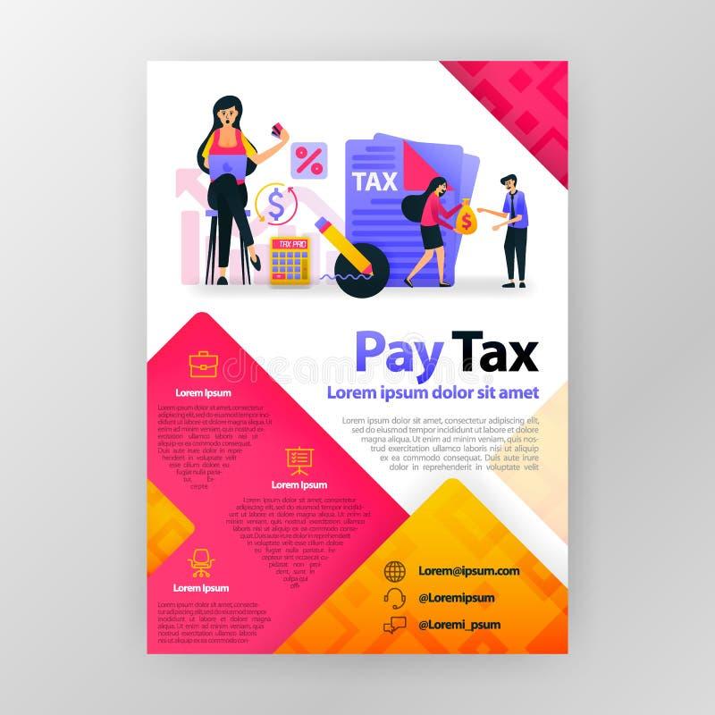 Betaal belastingen online bedrijfsaffiche met vlakke beeldverhaalillustratie Betaal van de van de bedrijfs belastingsvlieger van  stock illustratie