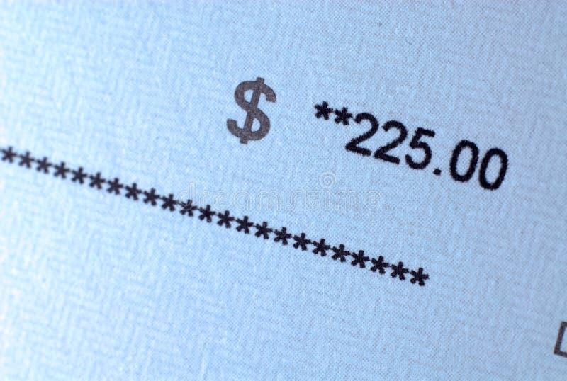 Betaal controlebedrag op papier royalty-vrije stock afbeelding