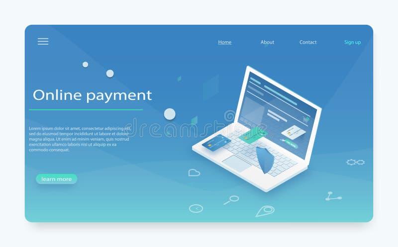 Betaal geschiedenis, financier gegevensbescherming, laptop met creditcard en isometrisch schild stock illustratie