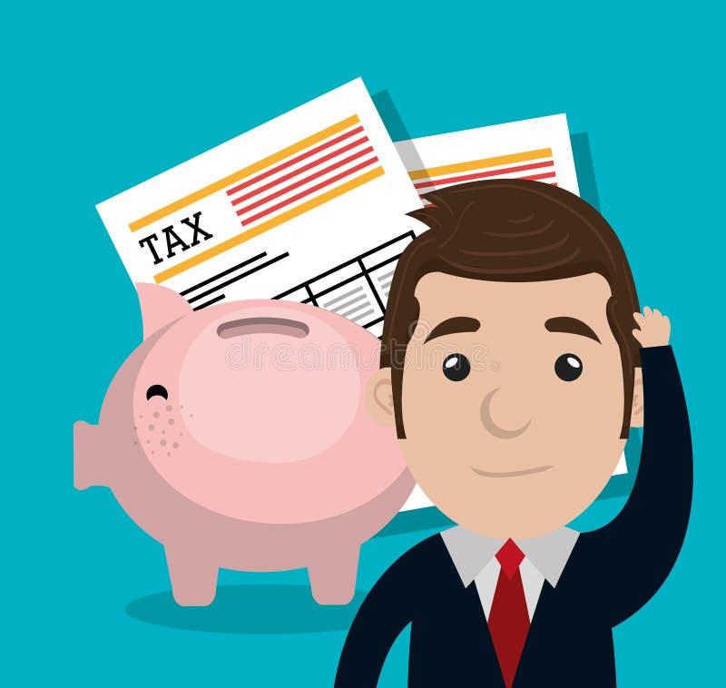 Betaal grafische belastingen stock illustratie