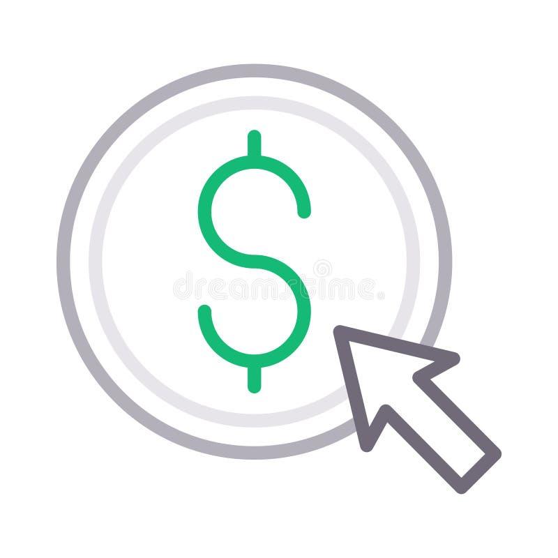 Betaal per kleur van de klik de dunne lijn vectorpictogram royalty-vrije illustratie