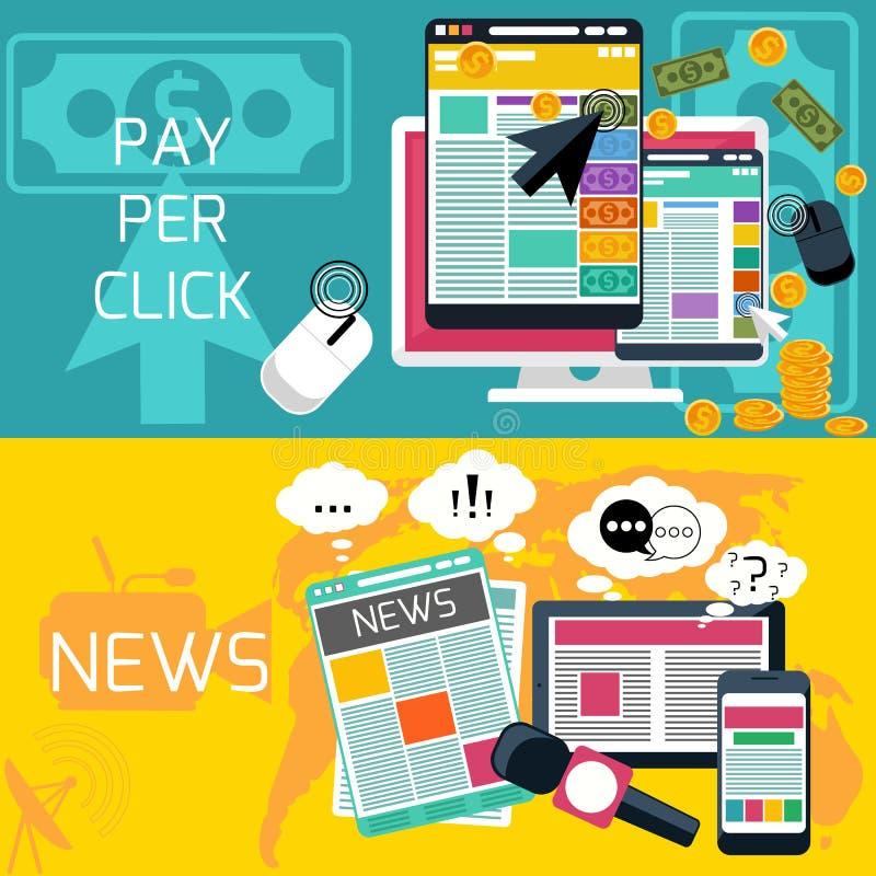Betaal per klik en journalistieknieuwsbanners stock illustratie