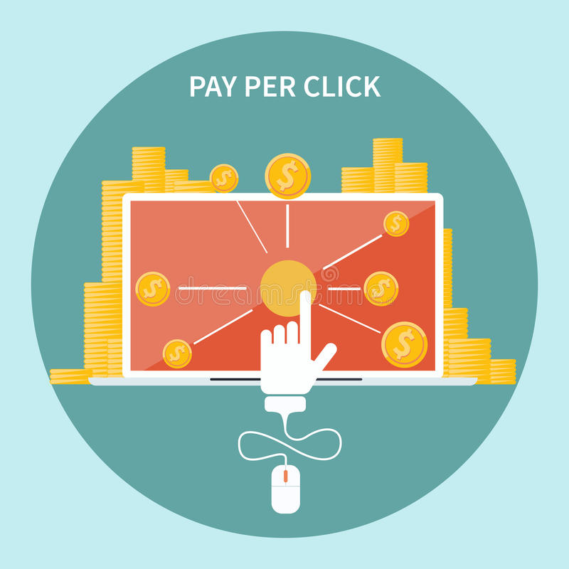 Betaal per klik Internet reclamemodel royalty-vrije illustratie