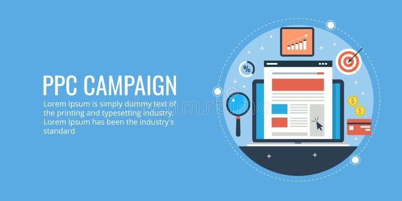 Betaal per klikconcept, ppc campagne, online adverterend, laptop, doel, winst stock illustratie