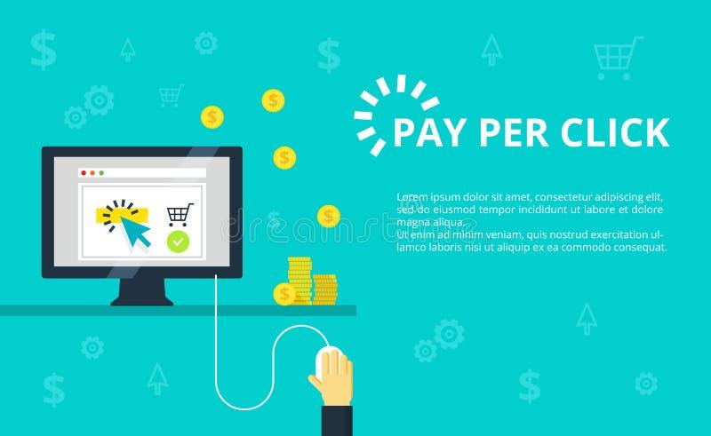 Betaal per klikillustratie Internet-marketing, reclameconcept in lijn en vlakke stijl stock illustratie
