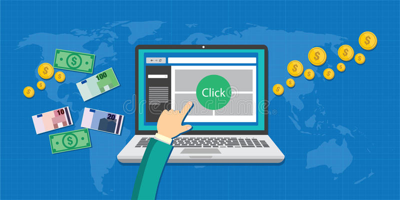 Betaal per klikppc concept vector illustratie