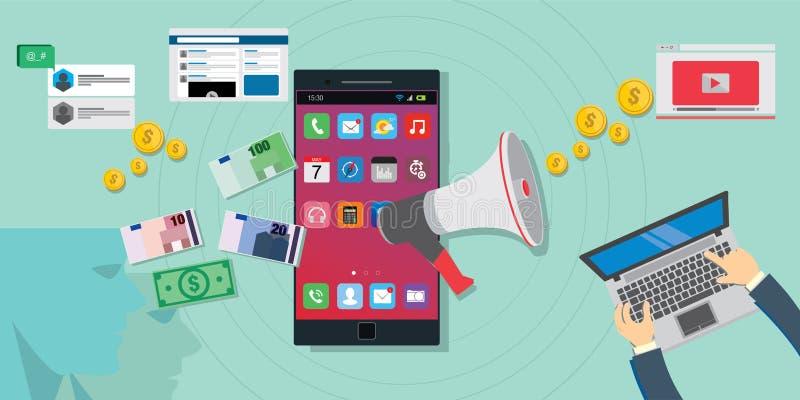 Betaalde bevordering online digitale reclame stock foto