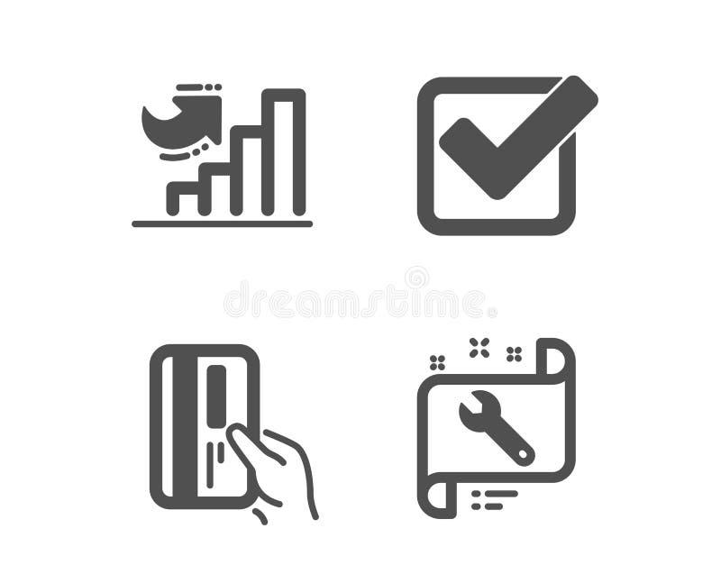 Betaalkaart, Checkbox en de Groeigrafiekpictogrammen Moersleutelteken Creditcard, Goedgekeurde tik, Diagramgrafiek Vector vector illustratie