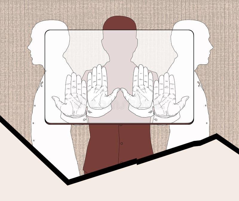 Betaalpashouders Drie silhouetten van mensen die een voorlopige rechthoek, volgens de aandelen houden die aan het verbod beantwoo stock illustratie