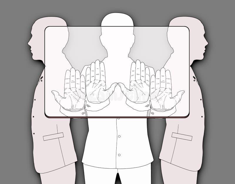 Betaalpashouders Drie silhouetten van mensen die een voorlopige rechthoek, volgens de aandelen houden die aan het verbod beantwoo royalty-vrije illustratie