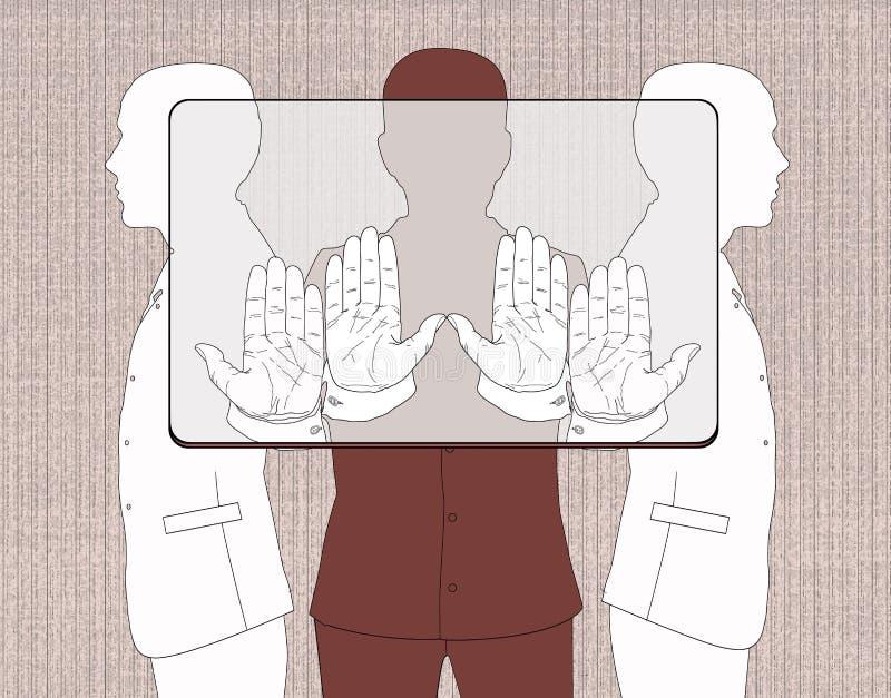 Betaalpashouders Drie silhouetten van mensen die een voorlopige rechthoek, volgens de aandelen houden die aan het verbod beantwoo vector illustratie