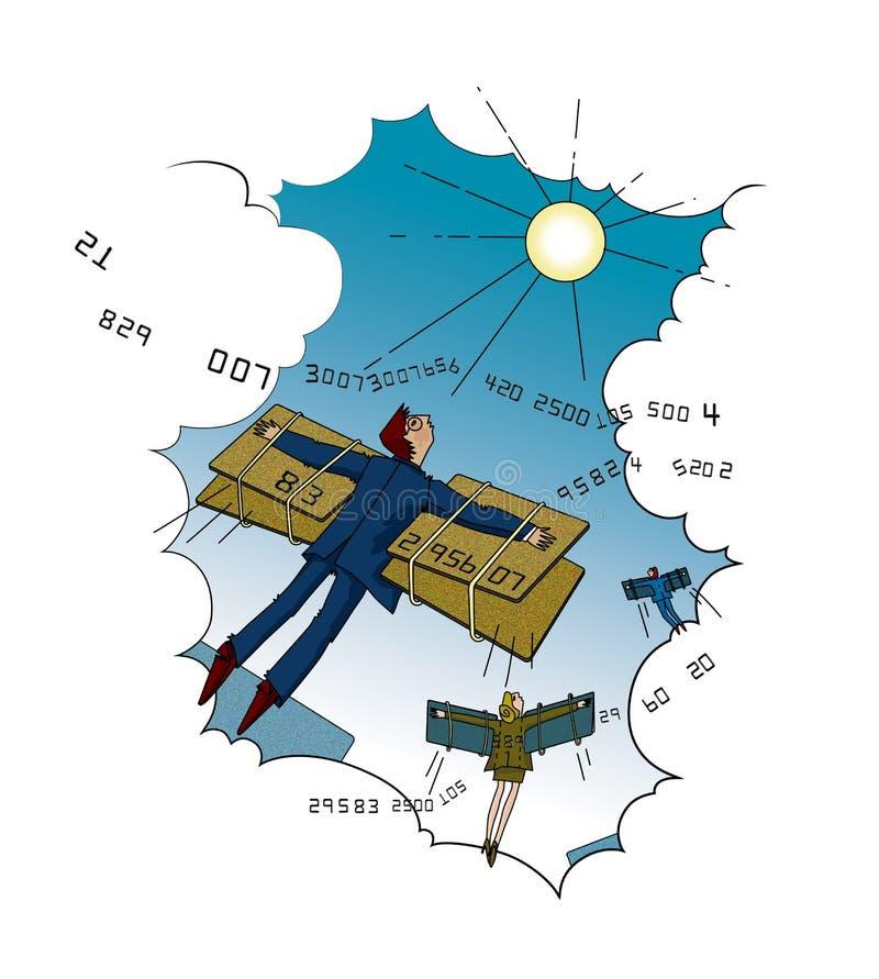 Betaalpassen Twee mannen en vrouw die door de wolken naar de zon met behulp van de vleugels van de betaalpassen vliegen royalty-vrije illustratie
