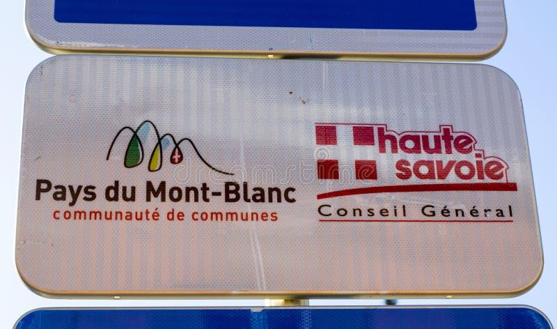 Betaalt du Mont Blanc Indicator stock foto's