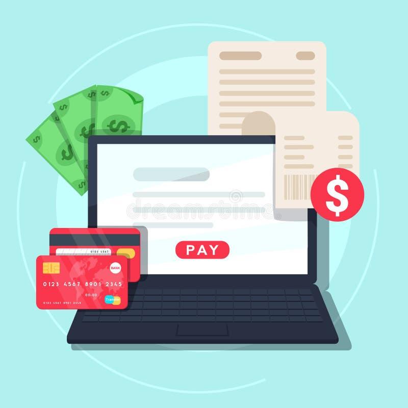 Betala den online-räkningen Online-pengartransaktionsbegrepp Betalning på internetbegrepp stock illustrationer