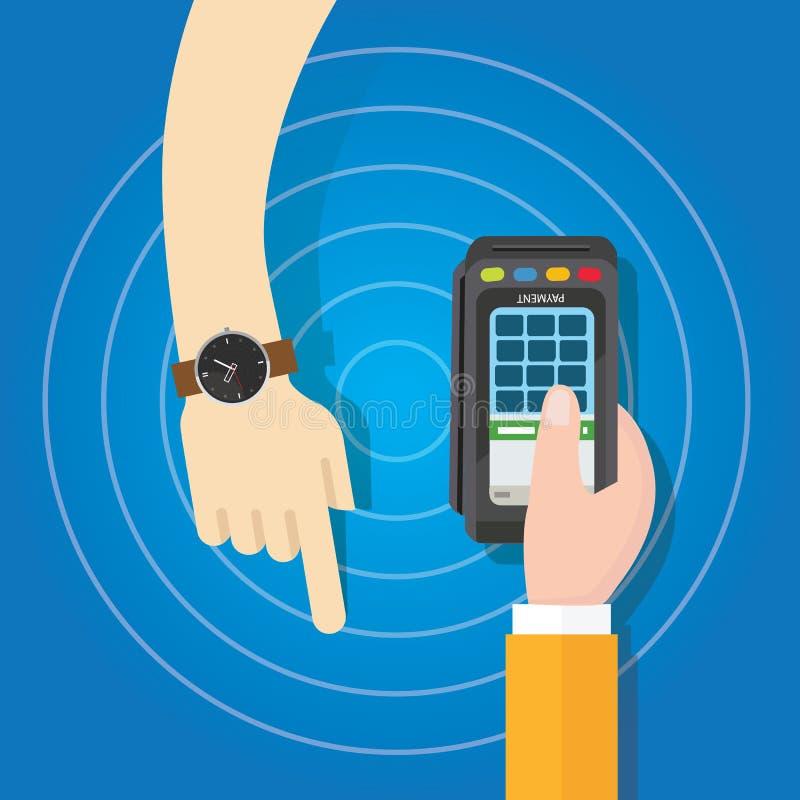 Betala genom att använda smart klockabetalningmetod handinnehavet för den elektroniska transaktionen royaltyfri illustrationer