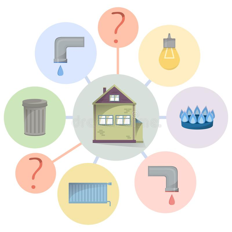 Betala hjälpmedelräkningar, dolde laddningar, oklar och unobvious förbrukning, plant diagram med huset och lätthetstyper royaltyfri illustrationer