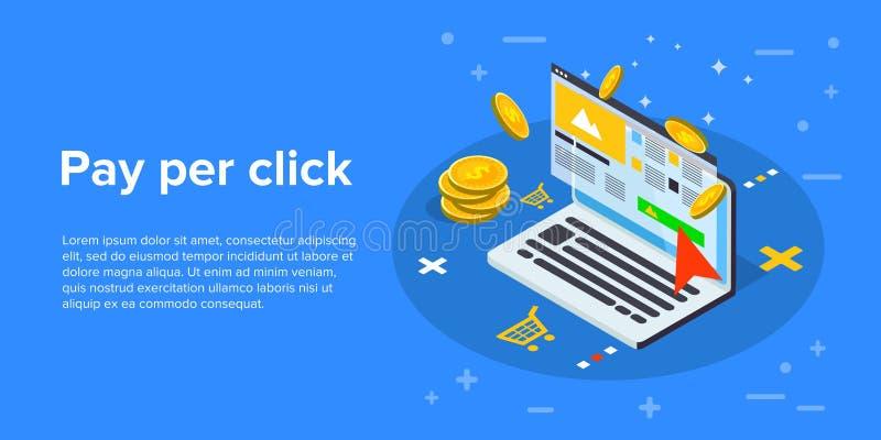 Betala per klicken som marknadsför den isometriska vektorbegreppsillustrationen P royaltyfri illustrationer