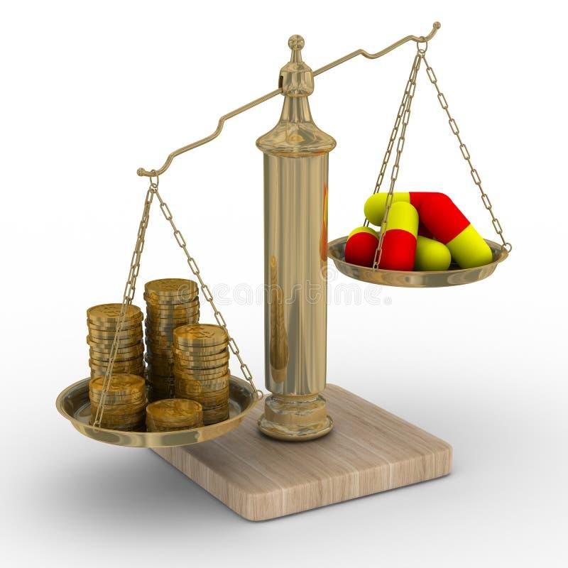 betalad behandling för kostnad medicin stock illustrationer