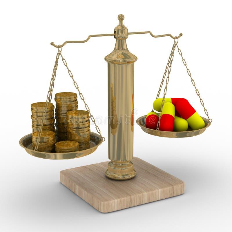 betalad behandling för kostnad medicin royaltyfri illustrationer