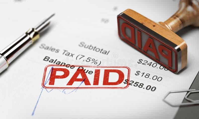 Betald faktura-, skuld- eller fakturasamlingsbegrepp royaltyfria bilder