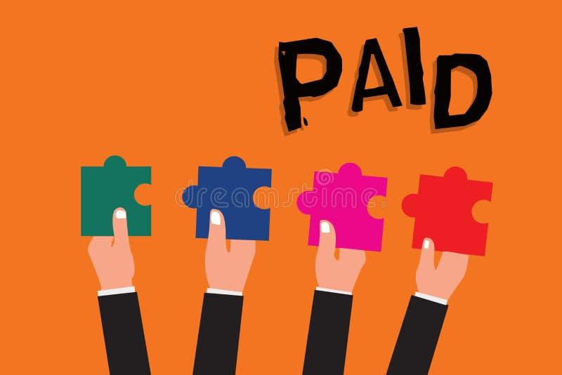 Betald textteckenvisning Det begreppsmässiga fotoet som är förfallet för jobb gjorda, mottar lön under tjänstledigheter från arbe royaltyfri illustrationer
