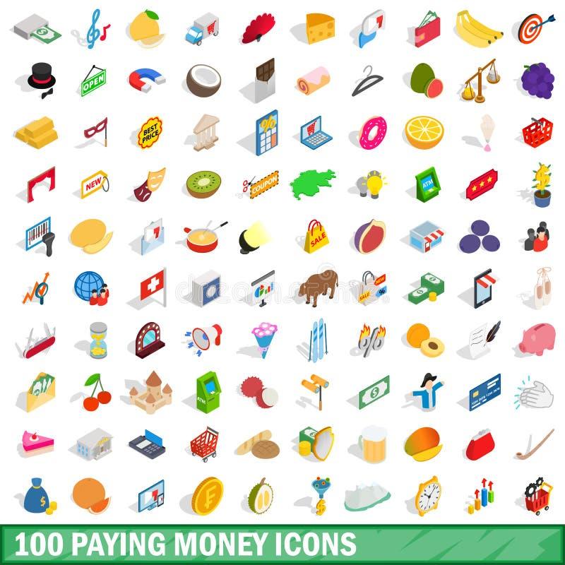 100 betalend geplaatste geldpictogrammen, isometrische 3d stijl vector illustratie