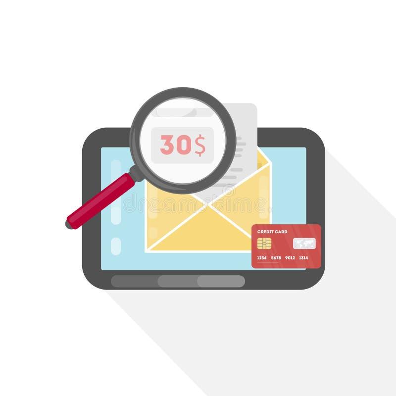 Betalend online rekening vector illustratie